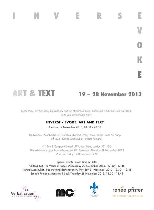 The exhibition Inverse - Evoke: Art and Text - November 2013