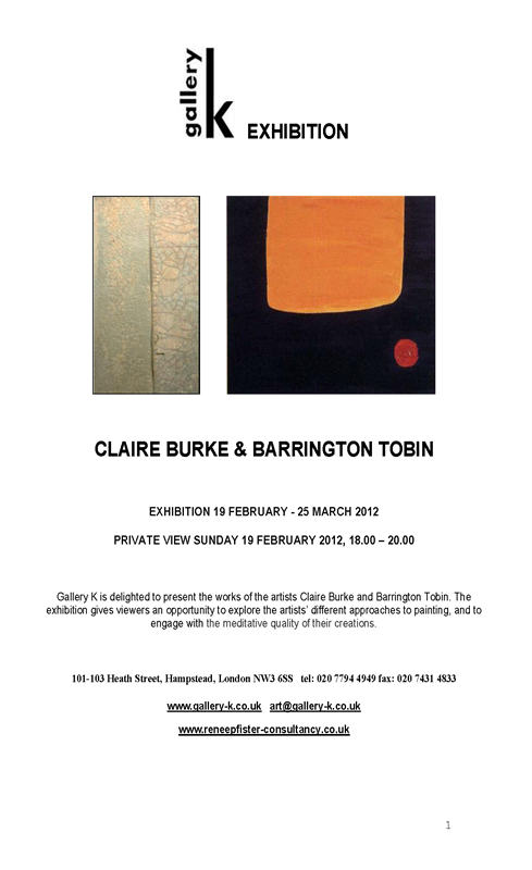 Claire Burke & Barrington Tobin at Gallery K, London.